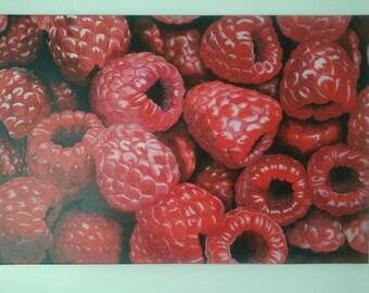 Raspberry Large Acrylic Painting 24x36