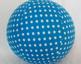 Fabric Balloon Ball Cover - TOY - Royal Blue Polka Dots - Great stocking stuffer or Baby Shower Gift