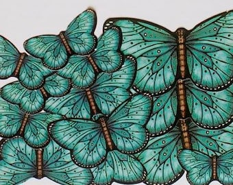 Teal Butterfly Sticker Embellishments