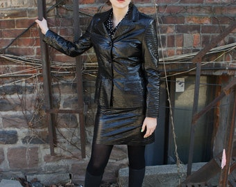 WET LOOK 1990's Crocodile Embossed Black PVC Suit, Jacket and Skirt Set, by Deimos Emozioni, made in Italy