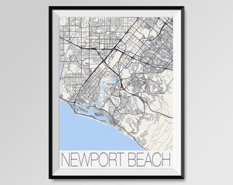 NEWPORT BEACH California Map, Newport Beach City Map Print, Newport Beach Map Poster, Newport Beach Wall Art, Custom city California map
