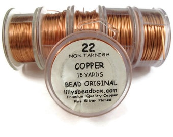 Copper Wire, 22 Gauge Round Wire for Making Jewlery, Non Tarnish Wire, 18 Yard Spool, Wire Wrapping Supplies, Pure Copper WIre, Thin Wire