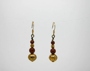 Goldstone and Gold Earrings