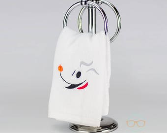 Nightmare Before Christmas Hand Towel - Zero Ghost Dog - Jack Skellington's Pet  - Geeky Movie Embroidered Bathroom Towel or Kitchen Decor