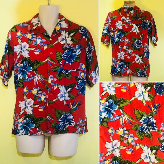 Orchid Designs Black Hawaiian Shirt with Hibiscus and Plumeria motif by Ky's of Hawaii Size Small MzsMr