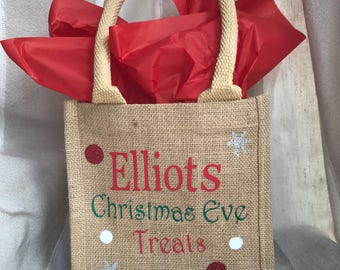 Personalised Christmas Eve treat jute hessian tote bags ideal for boys or girls