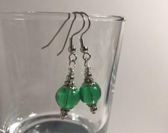 Small Light Green Drop Earrings