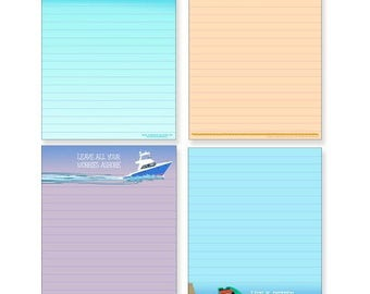 Boat Note Pad Pack - 4 Assorted Nautical Theme Pads - 607