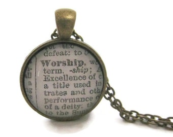 WORSHIP Necklace, Definition of Worship Necklace, Inspirational Jewelry, Gift for Her