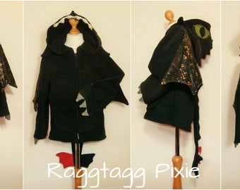 TOOTHLESS Dragon Hoodie, How to train your Dragon, Fancy dress, Hooded Jacket, Spikes, Eyes, Claws, Wings, tail
