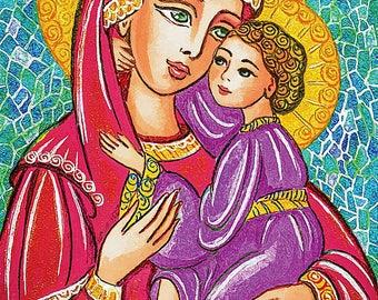 Madonna child, Virgin Mary Jesus painting, mother child, church woman christian folk art, motherhood, feminine decor print 7x10+