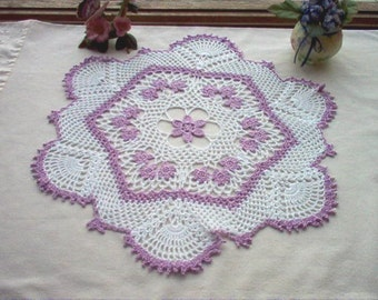 Woodland Violets N Lace Crochet Thread Art Doily New Handmade