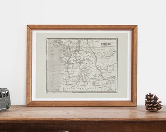 VINTAGE OREGON MAP - Antique Map of Oregon, Professional Reproduction