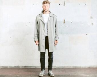 Men Grey Rain Coat . Vintage Duster Trench Coat Autumn Jacket Topcoat Mac Coat 1980s Oversized Long Jacket Outerwear . size Large