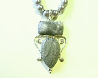Sea Sediment Jasper Necklace, Jasper Pendant, Sterling Silver Double Sea Sediment Jasper And Glass Bead Necklace