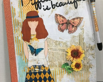 Different is Beautiful - Altered Composition Notebook / Journal