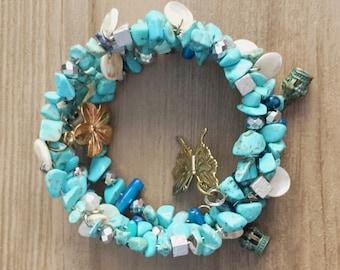 Free Size Bracelet, Stack Bangle, Turquoise Blue Bracelet, Memory Wire Bracelet, Gemstone Bracelet, Charm Jewelry, Free Size Stone Bracelet