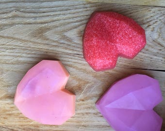 Natural Heart Soap- Soap Gift Set - Soap Set - Hostess Gift - Gifts for Her - Bath Set - Shea Butter Soap - Valentine's Soap - Essential Oil