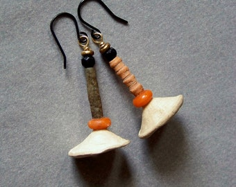 Earrings, tribal, ceramic  *  802