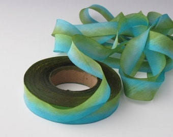 Hanah Silk Ribbon, Hand Dyed Ribbon, bias-cut