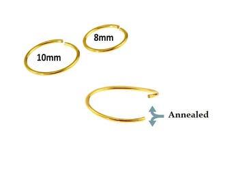 Simple Basic 20 Gauge 14K Gold Plated 316L Surgical Steel Septum/Nose Hoop