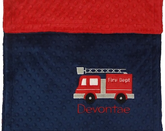 Personalized Firetruck Baby Blanket, Personalized Baby Blanket, Firetruck Baby Blanket, Custom Firetruck Baby Blanket