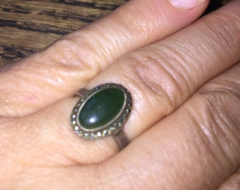SALE Jade & Marcasite Ring Lovely Art Deco Sterling silver Jade marcasite oval ring size 5 3/4