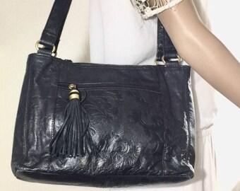 Black Tooled Leather Purse, Bag, Shoulder Bag, Tassel, St. Johns Bay