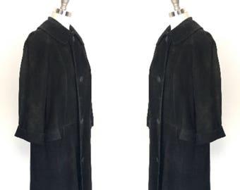 Vintage 60's Black Suede Coat Peter Pan Removeable Collar l M