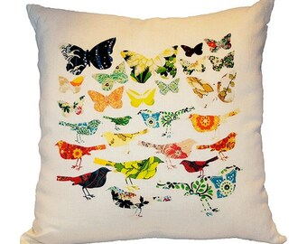 Birds and Butterflies Linen Pillow with Feather Down Fill