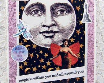 Magic is Within You & All Around You-Full Moon Card-Mystical Card-Magical-Moon Magic-Intuition-Fairy Card-Friendship Card-Moon and Stars