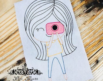 Kelly Camera girl Redwork quilting ITH Embroidery design file