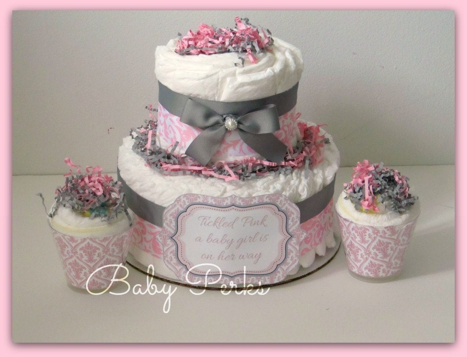 Baby Shower Decorations Diapers ~ Pink damask diaper cake pink and grey baby shower baby
