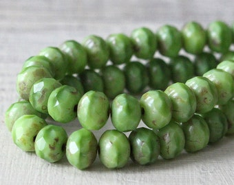 5x7mm Rondelle Beads - Czech Glass Beads - Jewelry Making Supply - Opaque Silky Spring Green - 7x5mm - 25 beads