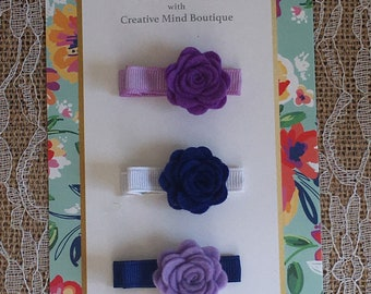 Flower Bloom Hair Clip - Trio of Felt Roses in Shades of Purple and Blue