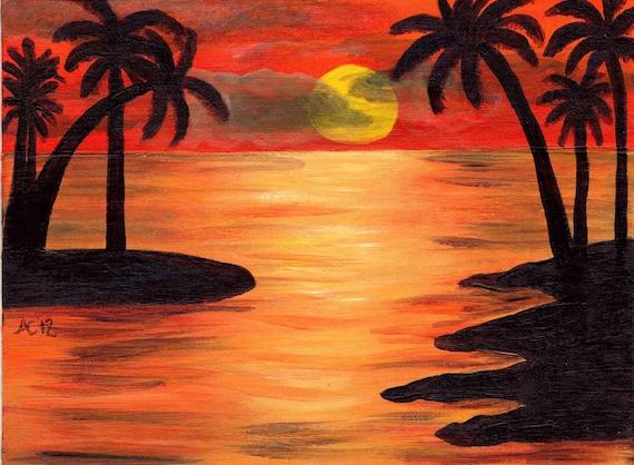 coucher de soleil palmiers peinture acrylique paysage marin. Black Bedroom Furniture Sets. Home Design Ideas