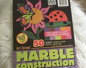 15% OFF - vintage marble construction paper pad