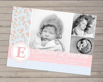 Print-yourself Photo Birth Announcement - Shabby Chic Girl, Multiple Photo
