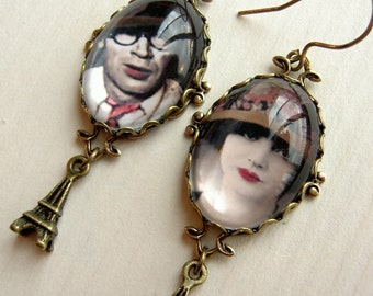 Anais Nin Earrings, Henry Miller Earrings, literature jewelry, book jewelry, diary jewelry, paris earrings, 1920s earrings, pink black, gift