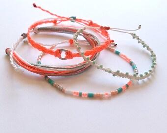 Florescent Pink, Turquoise, Mint & White Bracelet Pack, Friendship Bracelet Set, Waterproof Wax Cord, Adjustable Boho Bracelet, Set of 4