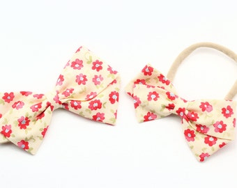 Pink and Yellow Bow - Nylon Headbands and Hair Clips For Toddlers