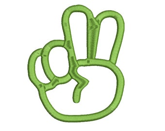 Hand with 2 fingers embroidery design Instant Download