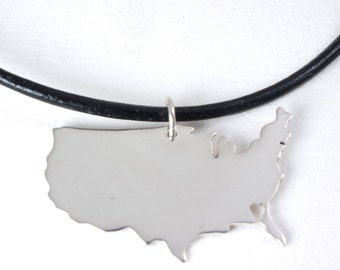 United States Necklace Charm, USA Necklace Heart  State Pendant Silver Charm, Long Distance Lovein a kraft gift box with an Extra Free Gift.