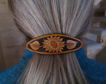 Carved leather sunflower hair clip