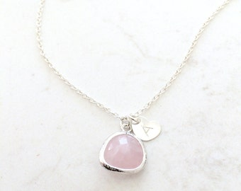 925 sterling silver rose quartz necklace monogram necklace rose necklace heart initial heart tag custom initial letter necklace bridesmaids