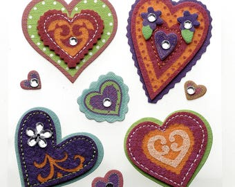 Jolee's Boutique | Colorful Stiched Hearts | Dimensional Stickers | 8 Pc