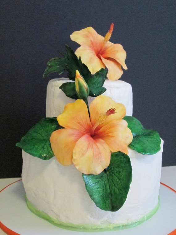 sucre fleurs hibiscus cake topper comestible gomme coller f te. Black Bedroom Furniture Sets. Home Design Ideas