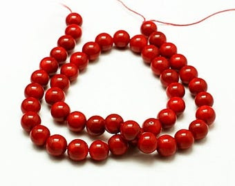 6mm Natural Coral Beads Dark Red Round 6mm Coral 6mm Red Coral 6mm Red Beads 6mm Red Stone