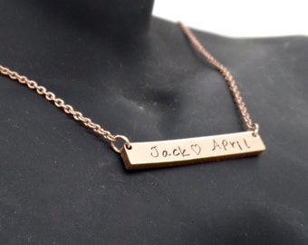 Bar necklace hand stamped Rose Gold plated stainless steel- Bar necklace- Personalized necklace