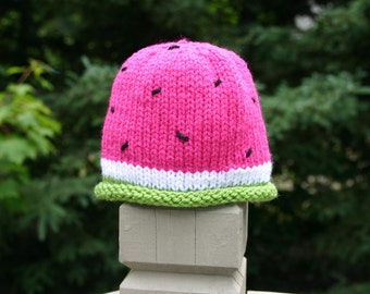 Watermelon Baby Hat, Hand Knitted Baby Hat, Knit Baby Hat, Baby Hat, Newborn Hat, Infant Hat
